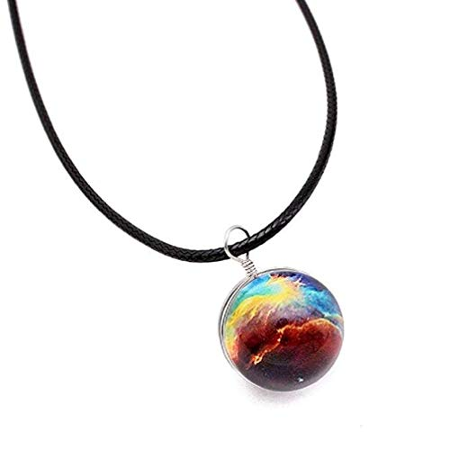 Glass Ball Pendant Necklace Glow in The Dark Star Universe Choker (B) ()
