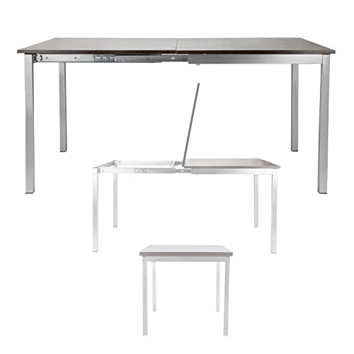 Corner Housewares Modern Rectangular 4-6 Person Easy Slide Transforming Dining Table with Gloss Finish, Dark Wood by SpaceMasterTM