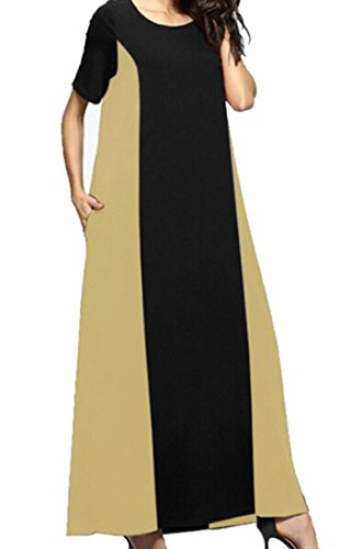 Block Neck Apricot Swing Color Long Womens Dress Muslim Pockets Round Domple IwqTCfE