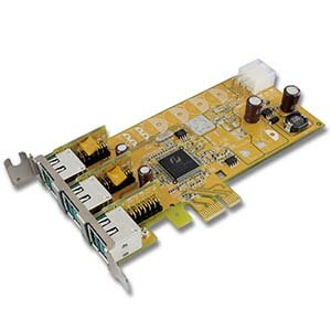 Sunix 3-Port 12V Powered USB Low-Profile PCI Express Card