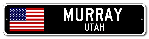 MURRAY, UTAH USA City Flag Sign Aluminum Patriotic Sign - - Street Murray Shops