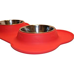 ROZU Dog Bowl   Stainless Steel Food Water Bowls with Non Skid Non Spill BPA Free Silicone Mat Holiday Red 48 oz for Small Dogs, Cats, and Small Pets