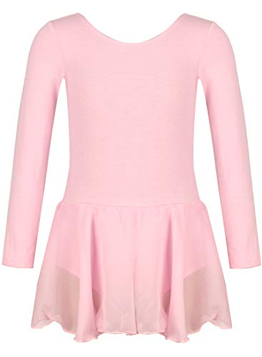 - Girls Team Basic Long Sleeve Leotard Skirt Kid Dance Ballet Tutu Dress (Pink, 110(4-5 years old))