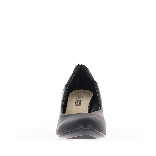 Compensées noires à talon de 6,5cm avec fermeture éclair décorative