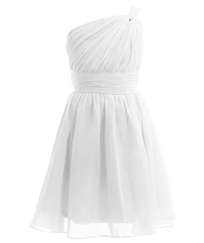 Fairy Couple Girl's One-shoulder Bridesmaid Evening Cocktail Party Dress K0122 14 White