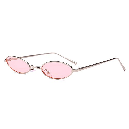 Bedis Small Oval Sunglasse,Retro Slender Metal Frame Candy Colors Glasses BD212 (Silver&Pink, - 2018 Mens Glasses