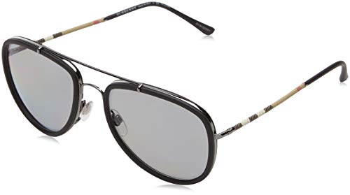 Burberry BE3090Q 1003T8 Gunmetal/Matte Black BE3090Q Pilot Sunglasses Polarised (Cheap Burberry Glasses)