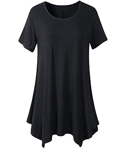 Long Shirt Donna Estivi Casual O-Collo Manica Corta Magliette Taglie Forti Eleganti Moda Relaxed Puro Colore Ragazza Tunica Camicetta Basic (Color : Schwarz, Size : 2XL)