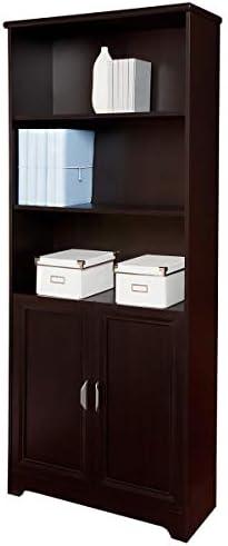 "Realspace Magellan 72"" 5 Shelf Contemporary Bookcase with Doors, Espresso/Dark Finish, Standard Delivery"
