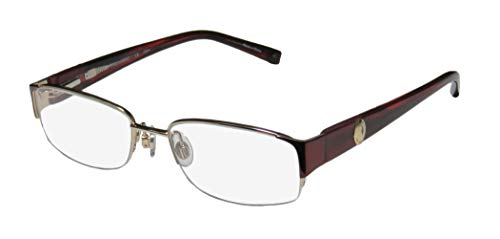 Trussardi 12506 Mens/Womens Designer Half-rim Flexible Hinges Hip & Chic Popular Shape Ophthalmic Eyeglasses/Eyewear (51-17-135, Gold/Burgundy)