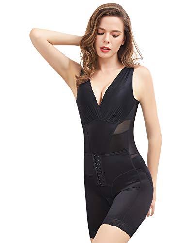 Shymay Women's Waist Trainer Bodysuit Tummy Control Postpartum Girdle Full Body Shaper Slim Body Briefer Shapewear,Black1,Tagsize XL=USTagsize M best to buy