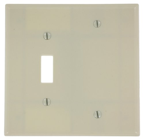 Leviton 80506-I 2-Gang 1-Toggle 1-Blank Device Combination Wallplate, Midway Size, Thermoset, Box Mount, Ivory