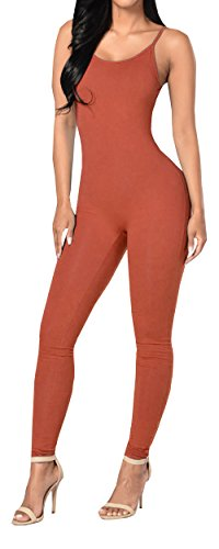 Ybenlow Women's Spaghetti Strap Bodycon Tank Jumpsuits Rompers Bodysuit (Small, Orange)