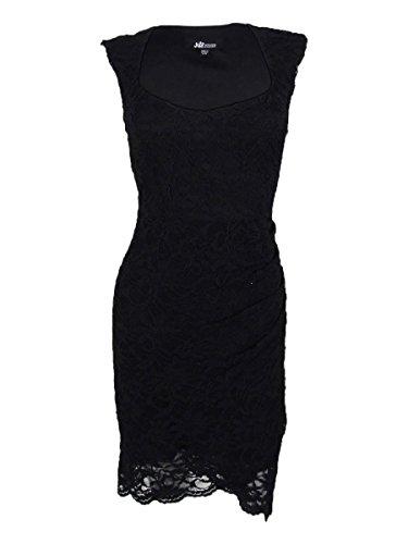 Jump Junior's Stretch Lace Sleeveless Mock Wrap Dress, Black, (Mock Wrap Knit Dress)