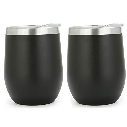 (12oz Insulated Wine Glass Tumbler With Lid, Black 2 Pieces Double Vacuum Wall Stainless Steel Cup For Coffee,Cocktails,Travel Drinks)