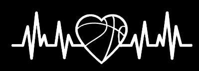 LLI Basketball Heartbeat | Decal Vinyl Sticker | Cars Trucks Vans Walls Laptop | White | 5.5 x 1.6 in | LLI1229