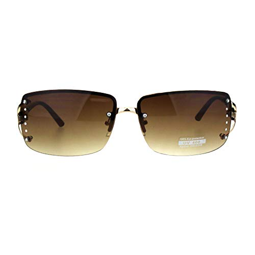 fcbd746f56b Amazon.com  Womens Rhinestone Rimless Narrow Rectangle Luxury Designer  Sunglasses Gold Brown  Clothing