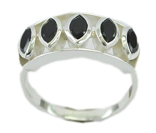 Supplies 925 Sterling Silver Appealing Genuine Black Ring, Black Onyx Black Gems Silver Ring from RIYO