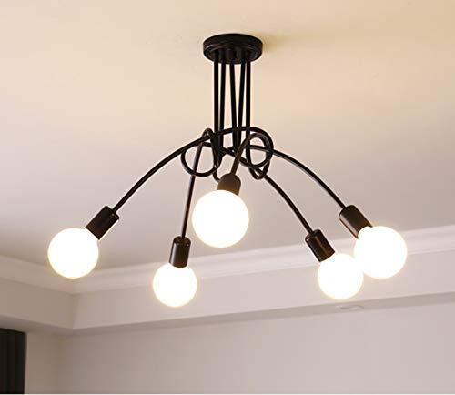Ganeed Modern Chandelier, Mid-Century 5 Lights Black Sputnik Pendant Lighting,Industrial Vintage Ceiling Light Fixture Brushed Nickel for Kitchen Dining Room Living Room ()