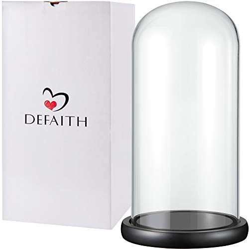 DEFAITH Upgraded 5.9''D x 13.8''H Glass Dome for Gold Rose - Specially Designed 5.9''Diameter with Black Wood Base