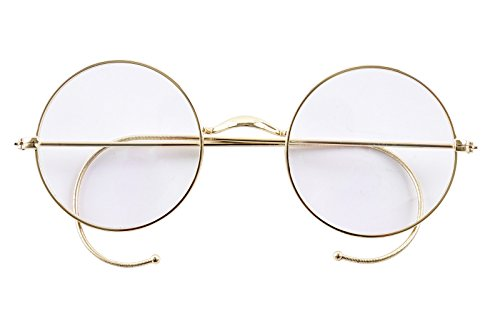 Agstum Retro Round Optical Rare Wire Rim Eyeglass Frame 47mm (Without Nose Pads) (Gold, - Temple Eyewear Cable