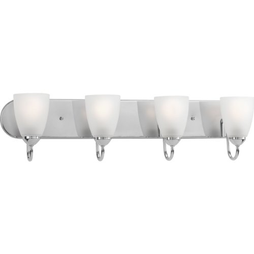 Progress Lighting P2709-15EBWB Gather 4-Lt. CFL Bath and Vanity Fixture with Etched glass shades