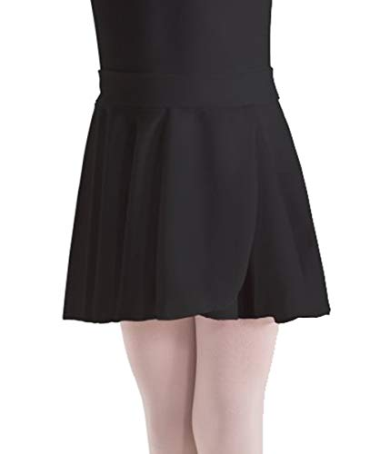 Motionwear Pull-On Wrap Crepe Skirt 1011 (XS (2-3), Black) ()