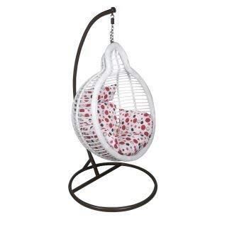 Virasat Outdoor/Indoor/Balcony/Garden/Patio/Hanging Swing Chair with Cushion & Hook/Color-White