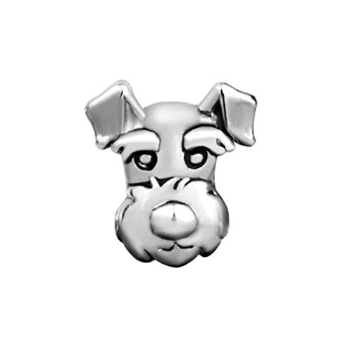 Pugster Silver Plated Cute Puppy Funny Dog Pet Charm Bead Fits Pandora Bracelet ()