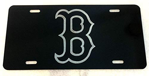 Diamond Etched Boston Red Sox Big B Car Tag on Black Aluminum License -