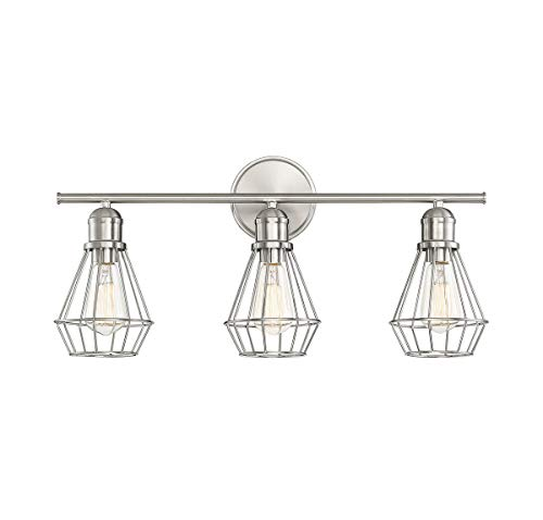 Trade Winds Lighting TW80021BN Industrial Retro 3 Light Bath Wall Vanity Wire Cage Fixture in Brushed ()
