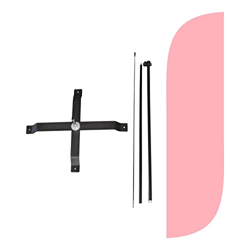 LookOurWay Solid Color Pink Feather Flag Complete Set with Poles & X-Stand, 5-Feet Pink Swooper Flag