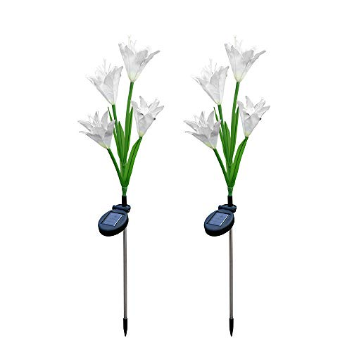 ️ Yu2d ❤️❤️ ️2 Pcs Lily Flower Solar Powered Garden Stake Lights Artificial Flowers LED ()