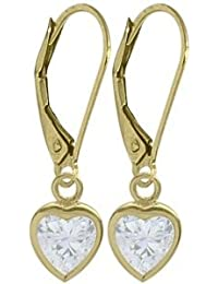 10 Karat Yellow Gold Genuine 1.70tcw. White Topaz Heart Leverback Earrings