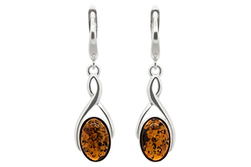 Amber Filigree Earrings - 925 Sterling Silver Infinity Oval Leverback Dangle Earrings with Genuine Natural Baltic Cognac Amber.