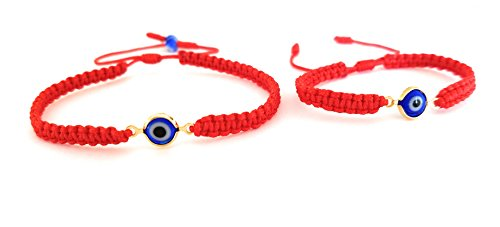 Lucky Charms USA Mommy and Me Set of 2 - Red String Evil Eye Bracelet for Protection, Mal De Ojo - Adult and Baby