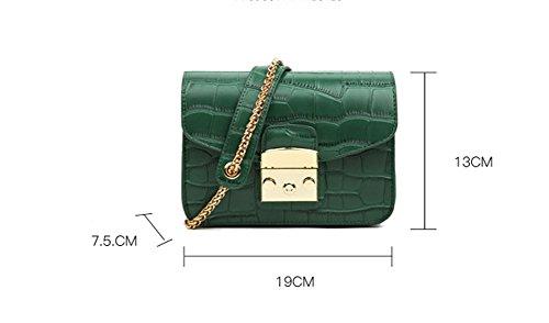 BAO bolsa de la Sra. De las mujeres hombro diagonal móvil bolsa de personalidad de la moda Mini bolsas de bloqueo de la manera simple, black green