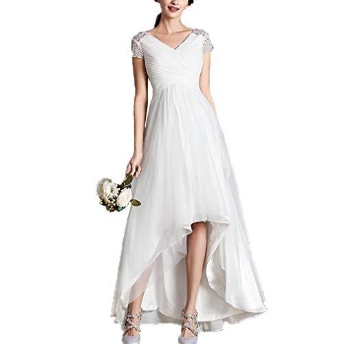 (Fashionbride Women's Asymmetrical Bridal Gown Short Sleeve Chiffon Wedding Dresses High Low ED78 White-US)
