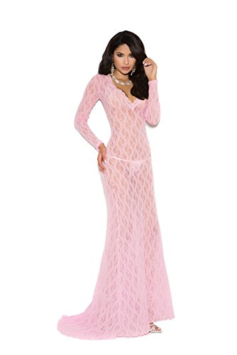 Elegant Moments Gowns - Elegant Moments Women's Long Sleeve Lace Gown with Deep-V Front, Baby Pink, Large