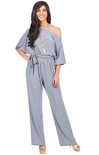 (KOH KOH Womens One Shoulder Short Sleeve Sexy Wide Leg Long Pants One Piece Jumpsuit Jumpsuits Pant Suit Suits Romper Rompers Playsuit Playsuits, Gray Grey L)