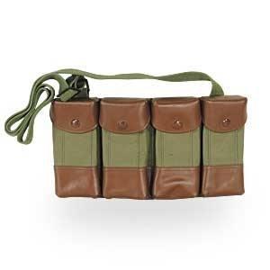Vietnam Era Original Military Surplus Man Made Leather Trim w/ OD Olive Drab Green Canvas SKS Rifle 7.62x39 4 Four Pocket Shoulder / Neck Carrier Pouch Rig for Cartridge Ammo Ammunition & Stripper Clips