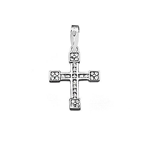 Croix pendentif 18k blanc 1.5mm or zircons carre. [AA4584]