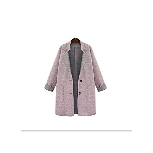 Coat Women Woolen Coat and Women's Slim Short Section Thin Woolen Coat Wool Coat Abrigos Elegante,Pink,L (Charex Wool Coat)