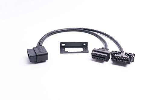 - Right Angle Universal OBD II OBD2 16pin Extension Splitter Y Cable 1 Male to 2 Female with Underdash Bracket for GPS