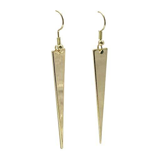(Goldtone Long Flat Spike Earrings)
