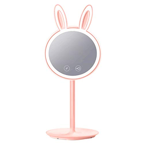 Qiaofangliu Makeup Mirror, Vanity Mirror Portable lamp Desktop LED Makeup Mirror Bedroom Bathroom Vanity Mirror (Color : Pink, Size : 4118CM)