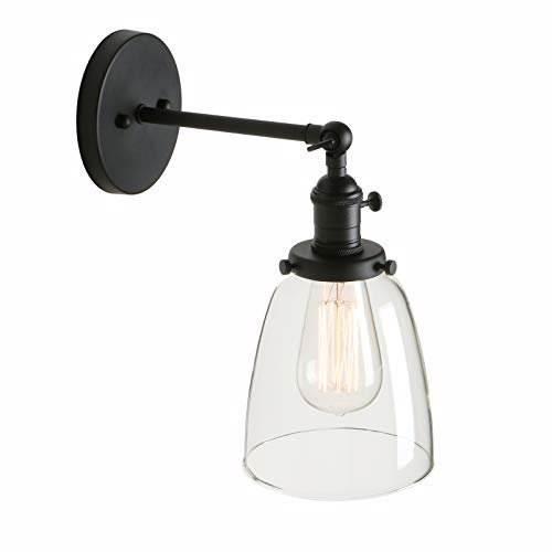 Sconce Standard Wood (Pathson Indoor Wall Lighting Fixtures with Switch, Industrial Vintage Wall Sconce Lamp with Metal Base and Clear Glass Shade for Farmhouse Headboard Bedroom Garage Porch Cafe Club)