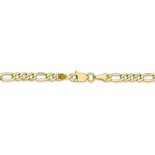 3.5 mm 10k Yellow Gold Lightweight Figaro Chain Bracelet - 7 Inch