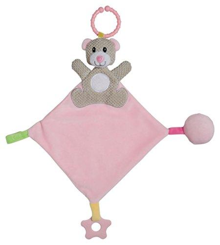 Cudlie! Bear Head Activity Lovie Security Blanket, Pink