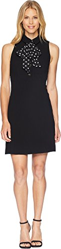 Tahari by ASL Women's Sleeveless Collared Sheath Dress with Dot Bow Black/Ivory -